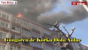 Güngörende 6 Katlı Binada Yangın Yan Binalara